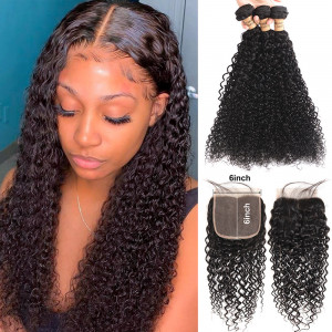 Curly Hair Bundles with 6*6 Lace Closure
