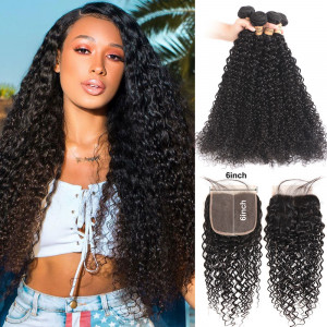 Curly Wave Hair Bundles with 6*6 Lace Closure