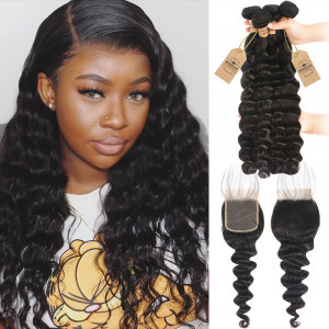 4pcs Loose Deep Wave With Lace Closure