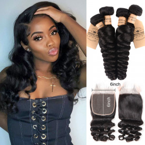 Loose Wave Hair Bundles with 6*6 Lace Closure