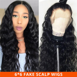 Loose Deep Wave 6*6 Fake Scalp Wigs