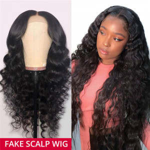 Loose Deep Wave Fake Scalp Wigs