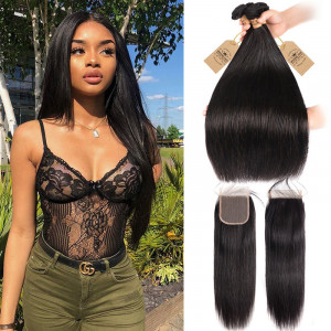 Straight Hair With Closure 4 Bundles