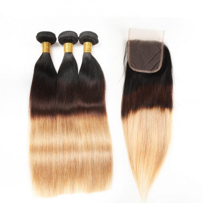 Ombre Hair 1B/4/27 Color Straight Human Hair Wave Bundles With Closure