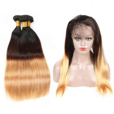 Straight 1B/4/27 Ombre Color Brazilian Virgin Hair 360 Frontal With 3 Bundles