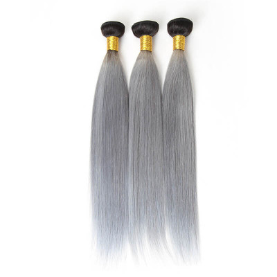 Straight Hair Weave Ombre Hair 1B/Grey Color 3 Bundles Virgin Hair