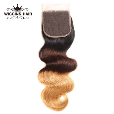 1B/4/27 Body Lace Closure 100% Human Virgin Hair Ombre Hair