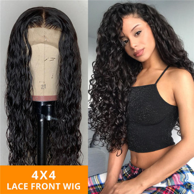 180% Density Water/Natural Wave 4X4 Lace Wigs Made By Hair Bundles With Closure