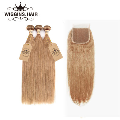 #27 Color Honey Blonde Brazilian Straight Hair 3 Bundles With Closure