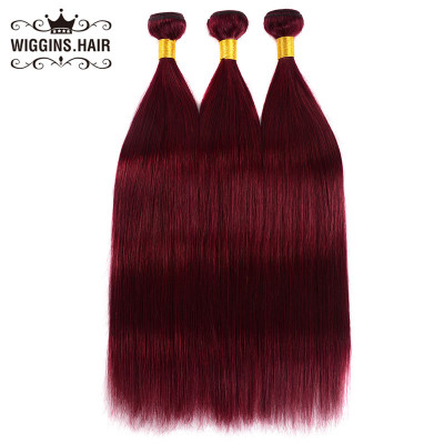 The Best Human Virgin Hair Color #99J Burgundy 3pcs Straight Hair