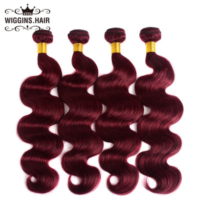 Color #99J Burgundy 4pcs Human Virgin Hair Body Wave Hair