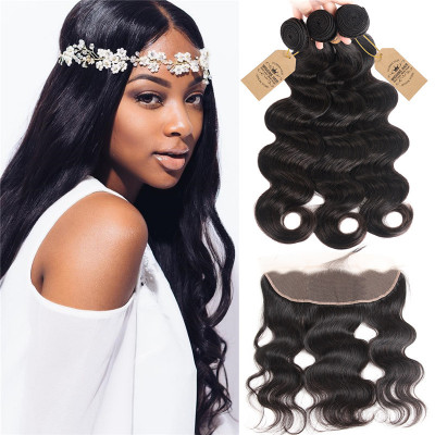 3 Bundles Body Wave Hair With Lace Frontal Hair Closure For Sale