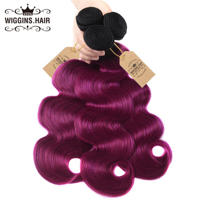 1B/Purple Color Ombre Hair Body Wave Weave Virgin Hair 3 Bundles
