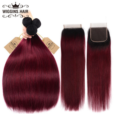 1B/Burg 1B/99J Color Straight Hair 3 Bundles With Lace Closure Human Hair