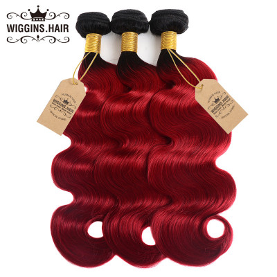 1B/Red Ombre Color Hair 3pcs Body Wave Weave Human Hair Bundles