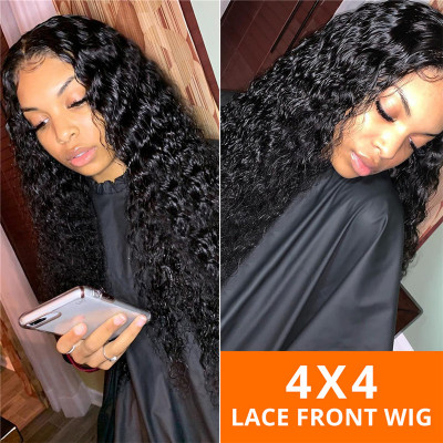 New Products 180% Density Deep Wave 4X4 Lace Wigs Virgin Hair