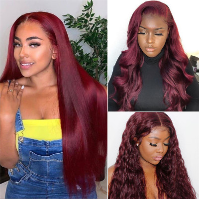 99J Burgundy Wigs Colored Lace Front Wigs Glueless Pre Plucked Lace Wigs With Baby Hair