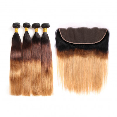 Brazilian Human Hair 1B/4/30 Color Straight Hair With Lace Frontal