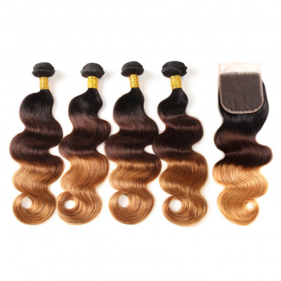 1B/4/30 Color Ombre Hair Body Wave 4pcs With Lace Closure