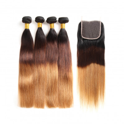 1B/4/30 Color Ombre Hair Straight 4pcs With 4*4 Lace Closure