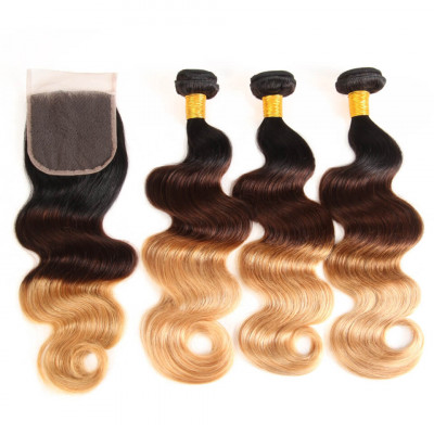 Ombre Color 1B/4/27 Brazilian Body Wave 3 PCS With Lace Closure