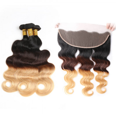 Ombre Hair Color 1B/4/27 Body Wave Weave 3 Bundles With Lace Frontal