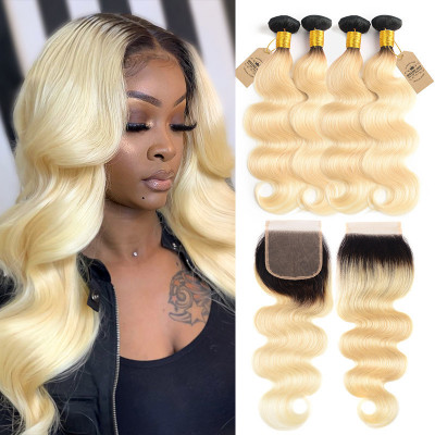 Ombre Hair Color 1B/613 Body Wave Hair 4 Bundles With Closure Free Part