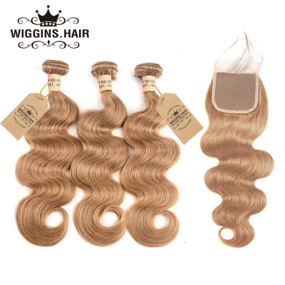 Honey Blonde #27 Color Body Wave Hair 3 Bundles With Closure