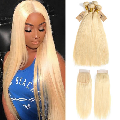 Brazilian Human Virgin Hair Pure 613 Color Straight Hair With Lace Closure