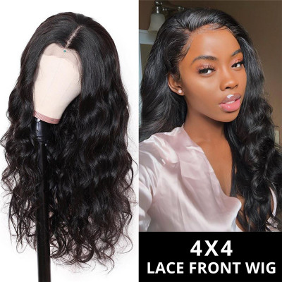 Body Wave 180% Density 4X4 Human Hair Lace Closure Wigs On Sale