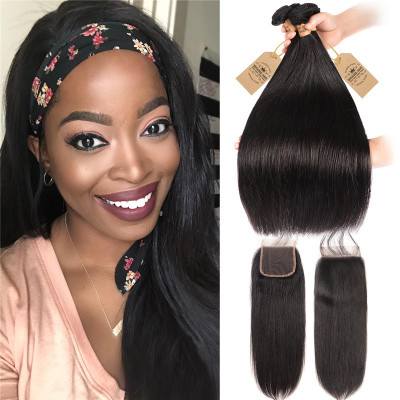 Peruvian Hair Bundles Straight Hair With 4*4 Closure 4 Bundle Deals