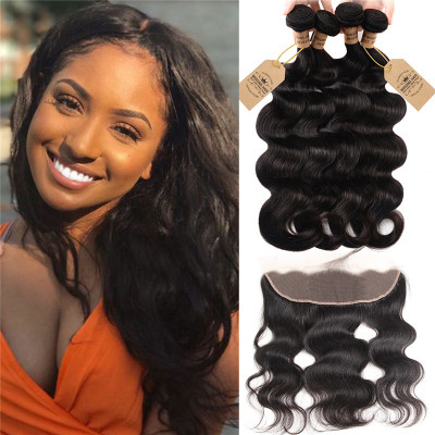 Peruvian Human Virgin Hair Body Wave 4 Bundles With 13x4 Lace Frontal