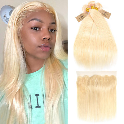 Blonde Color 613 Straight 3 Bundles Virgin Hair With Lace Frontal