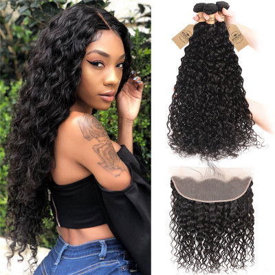 3 Bundles Peruvian Natural Wave Hair Extensions With Lace Frontal