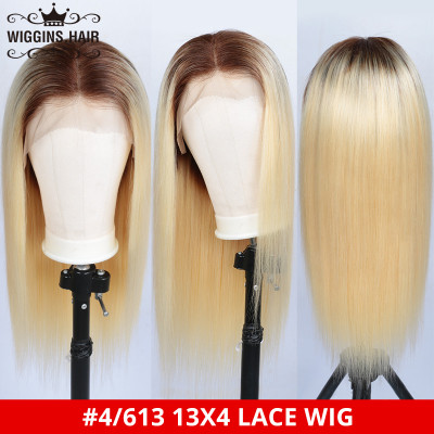 Ombre Wigs #4/613 Color Pre Plucked Lace Front Wigs Affordable Straight Blonde Wigs