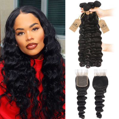 Peruvian Human Hair 4pcs Loose Deep Wave With Lace Closure 4x4 Inch
