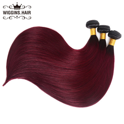 Ombre Hair 1B/Burg 1B/99J Color Straight Hair Weave 3 Bundles Wholesale Hair