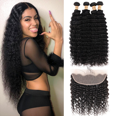 Peruvian 4pcs Deep Wave With Lace Frontal 13x4 Inch Deep Wave