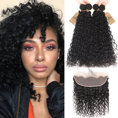 Natural Wave 13x4 Lace Frontal With 4pcs Peruvian Water Wave Hair