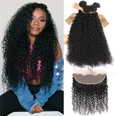 Brazilian Human Hair 4pcs Kinky Curly With 13*4 Lace Frontal