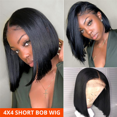 4x4 Closure Wigs Straight Bob Wigs Short Hair Wigs With Baby Hair For Women