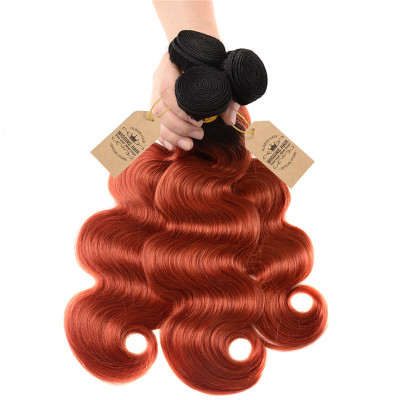 Top Quality 1B/350 Color Body Wave 3pcs Ombre Hair Weave Free Shipping