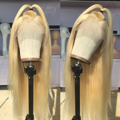 Cheap Blonde Wigs 180% Density Lace Front Wigs Blonde Color Hair Wig #613 Straight Wigs