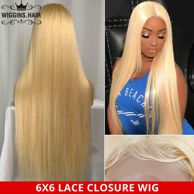 Straight 613 Honey Blonde 6*6 Lace Closure Wig Deep Part Pre Plucked Wigs With Baby Hair