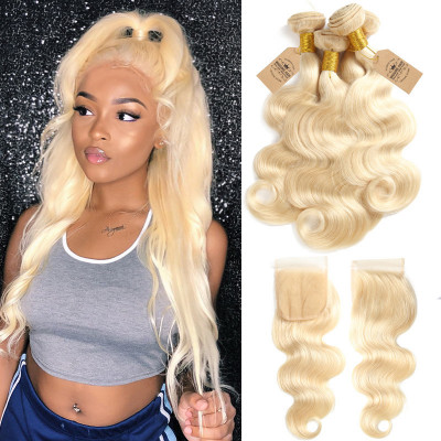 613 Brazilian Body Wave Bundle Deals 4 Bundles With Lace Closure