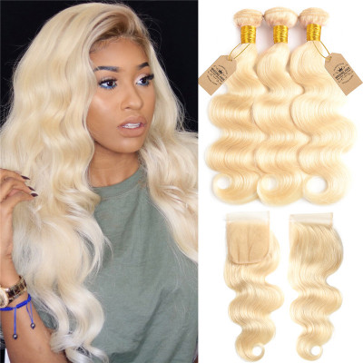 Blonde Hair 3 Bundles 613 Virgin Hair Body Wave With Lace Closure