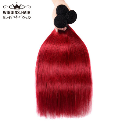 Ombre Hair Weave 1B/Red Color Straight High Grade Hair Bundles