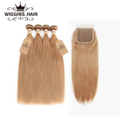 #27 Honey Blonde Hair 4 Bundles Straight Hair With 4*4 Lace Closure