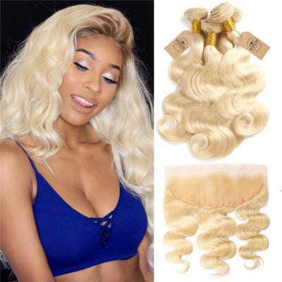 Brazilian Human Hair Body Wave 613 Color 4 Bundles With Lace Frontal