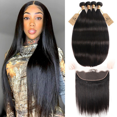 Brazilian Hair Weave 4 Bundles With 13*4 Lace Frontal Straight Hair Weave